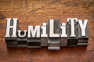 humility word in mixed vintage metal type printing blocks over grunge wood